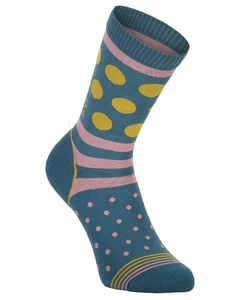 All Rounder Crew Sock Deep Teal / Pink Clay