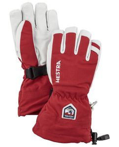 Army Leather Heli Ski Jr - 5 Finger Red Handske