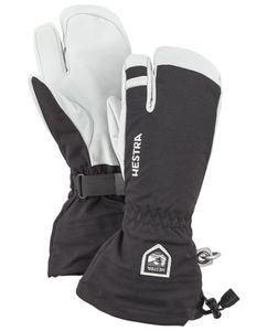 ARMY LEATHER HELI SKI - 3 FINGER BLACK/OFFWHITE Handske