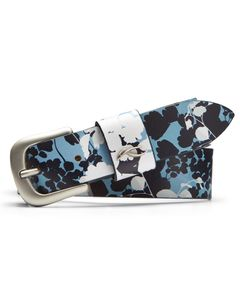 Women Printed Leather Belt Atl.Blue-White